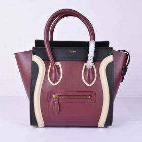 High Quality Celine Luggage Ladies Medium Double Top-handles Multicolor Leather Patchwork Tote Black/Wine/White
