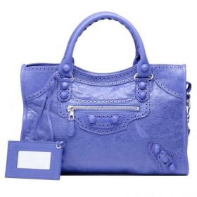 Good Price Balenciaga Giant Brogues City Silver Zipper Pocket Leather Belt Trimming Ladies Bleu Lavande Handbag Replica