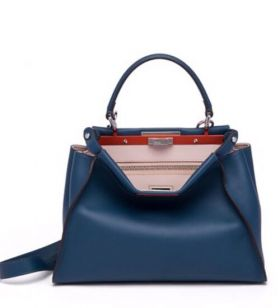 Fendi Peekaboo 2018 Peacock Colorblock Leather Top Handle Satchel Shopping Bag For Sale