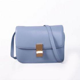 Celine Classic Box Ice Blue Calfskin Curved Edging Ladies Slip-over Flap Golden Clasp Crossbody Bag Replica
