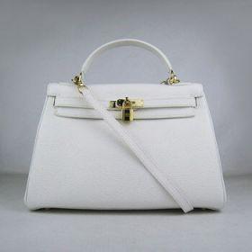 Hermes Kelly Replica 32cm White Togo Leather Handbag Golden Lock With Key Thin Shoulder Strap
