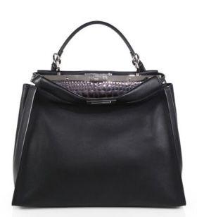 Fendi Peekaboo Large Satchel Bag With Crocodile-Embossed Interior Top Handle Street Fashion NYC