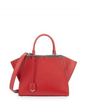 Fendi Trois-Jour Mini Tote Bag Red Leather Shopping Dating Wide Shoulder Strap On Sale America