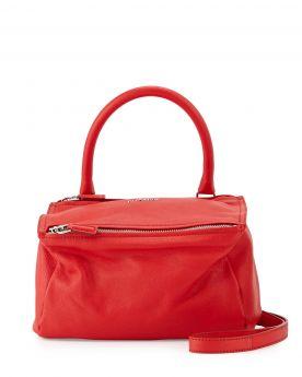 Red Small Givenchy Pandora Tubular Single Handle Top Zipper Closure Satchel Bag For Girls Replica