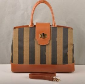 Fendi Pequin Earth Yellow Calfskin Leather With Fabric Top Handle Turnlock Bag Business Style For Women