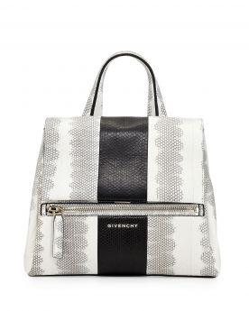 Hot Selling Givenchy Pandora Pure Small Colorblock Flat Handle Zipper Pocket Womens Watersnake Handbag Black & White