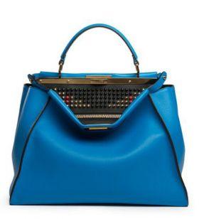 Fendi Peekaboo Royal Blue Leather Large Satchel Bag Colorful Beaded Interior Four Seasons Celebrity Style