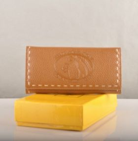 Fendi Selleria Earth Yellow Calfskin Leather Long Wallet Many Card Slots Paris Sale Fake