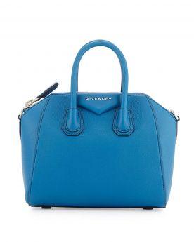 Givenchy Antigona Female Double Top Handles Trangular Logo Patch Electric Blue Leather Mini Satchel Bag