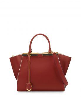 Fendi 3Jours Dark Red Leather Satchel Bag White Edges Black & Gold Enamel Bar Price Malaysia