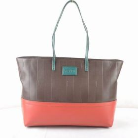Fendi Pequin Copy Coffee Calfskin Leather With Stripe Red Leather Faddish Tote Bag Online Shop Women