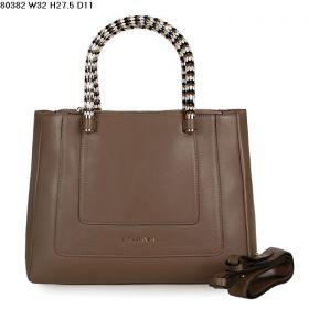 Bvlgari Black-White Enamel & Golden Handles Khaki Calfskin Leather Serpenti Bag For Womens 32cm