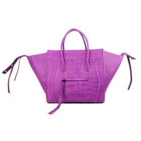 Low Price Celine Luggage Phantom Slim Rounded Handles Square Base Ladies Pure Crocodile Tote Purple