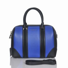 Good Price Givenchy Lucrezia Rounded Top Handles Black Leather Detail Ladies Small Blue Zipper Shoulder Bag
