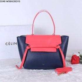 Timeless Style Celine Yellow Gold Zipper Top Single Flat Handle Ladies Rose & Navy Calfskin Shoulder Bag