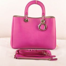 High-End Christian Dior Purple  Diorissimo Cross-Body With Inner Pouch  Medium Tote Bag Nappa-Texture Leather