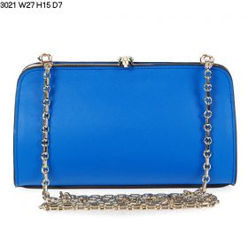 Bvlgari Serpenti Famed Black-White Enamel Snake Head Pressure Closure Womens Blue Leather Chain Strap Clutch Bag