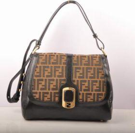 Low Price Fendi Women Chameleon Copy F Fabric Black Lichee Leather Retro Messenger Bag Malaysia