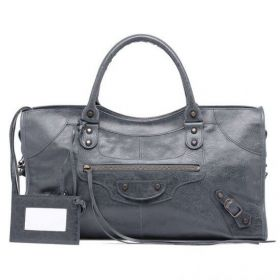 Hot Selling Balenciaga Part Time Zipper Front Pocket Buckle Trimming Female Anthracite Handbag With Hand Mirror