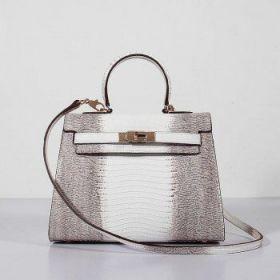 Hermes Kelly Grey White Lizard Leather 28cm Bag Golden Lock With Key Clone Sale Lady