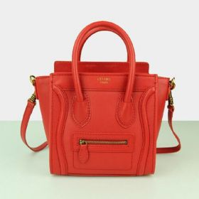 Best Price Celine Small Luggage Leather Trimming Extensible Sides Womens Red Smooth Leather Tote Bag 20CM