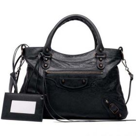 Classic Balenciaga Aged Brass Studs Female Town Buckle Trimming Leather Framed Mirror Black Tote Bag