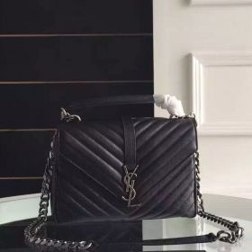 High-quality Saint Laurent College Medium Chain Strap Black Goatskin Quilted Monogram Tote Bag For Womens 428056BRM041000