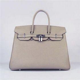 Hermes Birkin Women's 35CM Grey Togo Leather Handbag Silver Lock 2018 Street Fashion For Sale