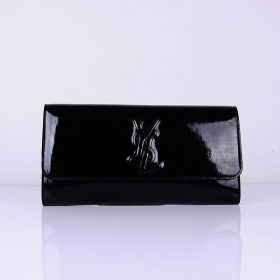 Classic Black Yves Saint Laurent YSL Logo Detail Ladies Flap Patent Leather Wallet Best Gift