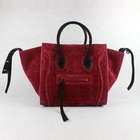 2018 Latest Celine Leather Straps Detail Foldable Triangle Gussets Black & Red Suede Ladies Medium Square Handbag
