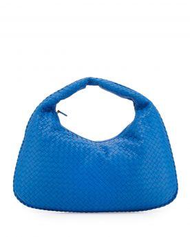 Fashion Bottega Veneta Large Sac Curved Design Zipper Closure Womens Intrecciato Cobalt Clone Veneta Bag 367639V00164286