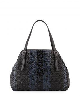 Women's Bottega Veneta Cesta Adjustable Buckled Arm-carry Strap Medium Intrecciato Snakeskin Tote Bag Black/Navy