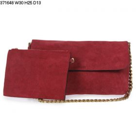 Summer Popular Celine Gourmette Wine Red Suede Leather Yellow Brass Arm-carry Strap Womens Flap Shoulder Bag