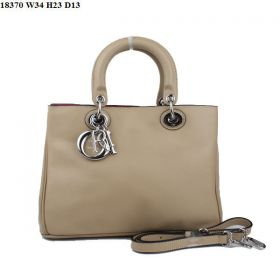 Replica Christian Dior Diorissimo Apricot  Litchi Tote Bag  with Slip Pocket Deeppink Lining