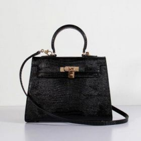 Hermes Kelly Sexy Black Lizard Leather 25cm Bag Golden Lock Buckle Copy With Strap On Sale