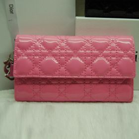 Best Reviewed Replica Dior  Pink Leather Female Tri-Fold Wallet Cannage Pattern Shopping Price Singapore