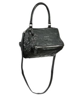 Givenchy Pandora Double Zipper Openings Single Rounded Handle Black Cirnkled Leather Small Handbag  BB05253004-001