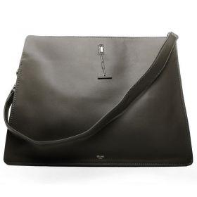 Celine Fashion Trends Dark Green Original Leather Silver Hardware Two Compartments Ladies Tote Bag Replica