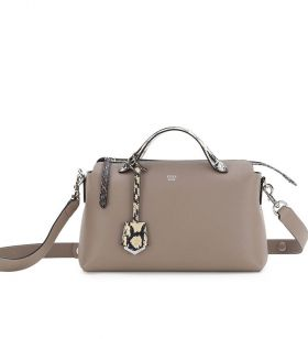 Fendi By The Way Grey Leather Snakeskin Top Handle & Trim Small Satchel Bag Lady For Sale