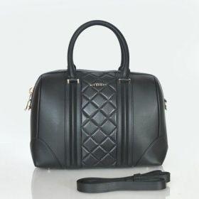 Summer Latest Givenchy Lucrezia Black Leather Ladies Zigzag Pattern Detail Zipper Top Shoulder Bag UK