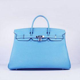 Hermes Birkin Light Blue Cowhide Leather 35cm Handbag Silver Buckle Fashion Party Online Store UK