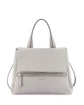 Givenchy Pandora Pure Single Flat Handle Silver Logo Detail Grey Calfskin Leather Medium Crossbody Bag