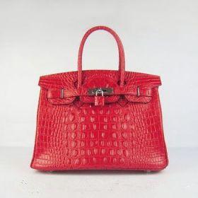 Sexy Hermes Birkin 30cm Red Crocodile Head Vein Handbag Silver Lock Clone Victoria Beckham Style
