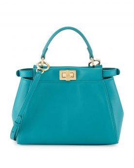 Fendi Peekaboo Mini Aqua Leather Satchel Bag Brass Cross Rotatable Buckle Shoulder Belt Women Sale