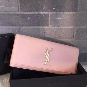 Saint Laurent Cute Pink Calfskin Leather Gold-tone Monogramme Logo Flap Kate Clutch Bag For Girls Replica