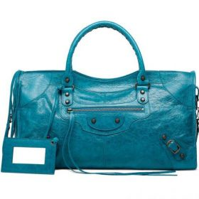Shiny Balenciaga Classic Part Time Leather Trimming Aged Brass Buckle Detail Ladies Lagon Studded Handbag Replica