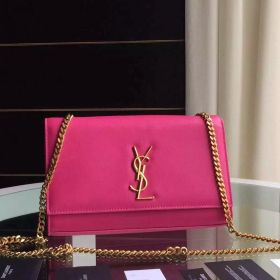 Most Popular Saint Laurent Kate Ladies Rosy Leather Monogram Satchel With Golden-tone Chain Strap