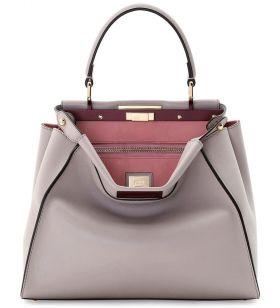 Replica Fendi Peekaboo Light Gray Medium Bicolor Turnlock Tote Bag Online Store Women