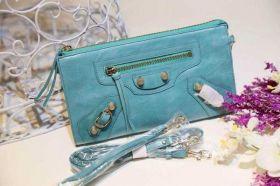 Most Fashion Balenciaga Front Zipper Pocket Pursed Default Lagon Leather Brass Zipper Studs Wallet UK