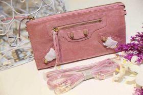 Spring Latest Balenciaga Yellow Gold Studs Ladies Pink Lambskin Long Zipper Default Wallet For Discount Replica